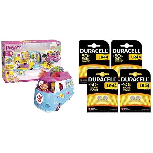 Pinypon Ambulancia de Mascotas - Incluye muñeca, Mascota y Accesorios (700012751) + Duracell - Pilas Especiales alcalinas de botón de 1.5V, Paquete de 8 Unidades