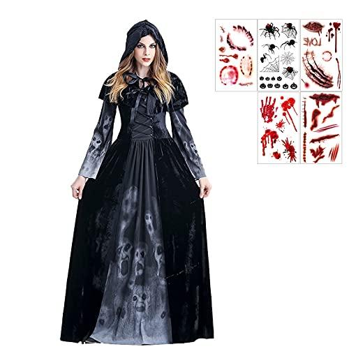 Disfraz De Bruja De Halloween Negra de Mgico Sacerdote Traje de Bruja Hechiceros Ropa de Adultos Dama para Fiesta de Halloween Carnaval para Fiesta de Halloween Carnaval