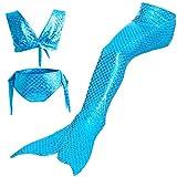 YiXing Juego de 3 piezas de traje de baño de cola de sirena para niña, vestido de sirenita, disfraz de cosplay de playa, traje de baño (color: azul, tamaño: 140)