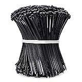 Vockvic 1000 Pack Bridas de Plástico Negras, 100 mm x 3 mm Reforzados Automáticos de Nylon con Cierre Automático Lazos de Plástico Envuelven Lazos de Plástico para el Taller y Taller