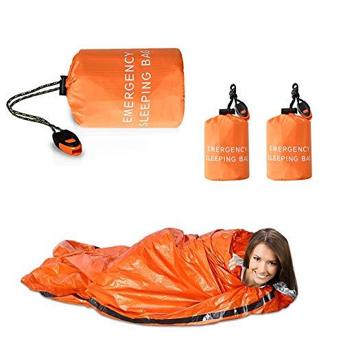WAEKIYTL Juego de saco de dormir de supervivencia de emergencia, ligero, impermeable, manta térmica de emergencia y poncho, saco bivy con bolsa de cordón portátil para aventura...