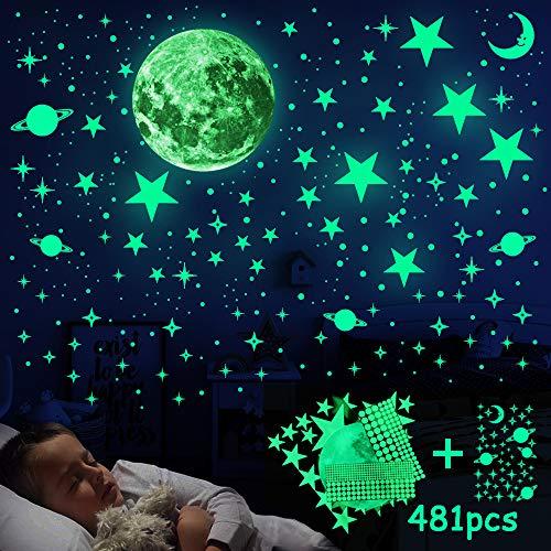 Leuchtsticker Wandtattoo, 481 Stück Leuchtsterne Wandtattoo Selbstklebend Wandsticker Leuchtaufkleber, Fluoreszierend Leuchtsterne Wandsticker für Kinderzimmer, Jungen Mädchen Schlafzimmer