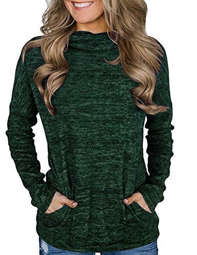 Nekosi Damen Rollkragen Pullover Vollarm gerippt Pullover Strickoberteile mit Taschen dunkelgrün m