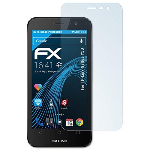 atFolix Schutzfolie kompatibel mit TP-Link Neffos Y50 Folie, ultraklare FX Bildschirmschutzfolie (3X)