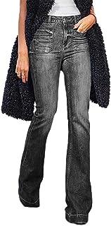 ORANDESIGNE Mujer Evasé Vaqueros Acampanados Pantalones Largos Elástico Cintura Alta Retro Flared Jeans