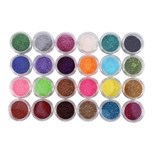 Nail Glitter Powder, Nail Art Tips Decoration Tool, 24 Colors Glitter Powder, Kit de manucure pour usage professionnel à domicile