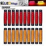 Pack of 20 LEDVillage 10 pcs Amber 10 pcs Red 3.8' 6 LED Side Marker Lights, Trailer Marker Lights, Rear Side Marker Lamp, Led Marker Lights for Trucks, Cab Marker, RV Marker light