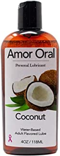 Amor Oral Coconut Flavored Lube, Edible and Body Safe, Water-Based Personal Lubricant 4 Ounce Coconut