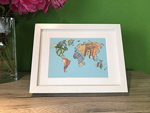 Geldgeschenk Weltkarte MIT Bilderrahmen, Hochzeitsgeschenk, Geburtstagsgeschenk, Geldverpackung