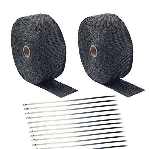 Titanium 5CM x 15M Fiberglass Heat Shield Tape for Car Motorcycle with 4 Stainless Ties Yizhet Exhaust Pipe Heat Insulating Wrap Tape Black High Insulation Cloth