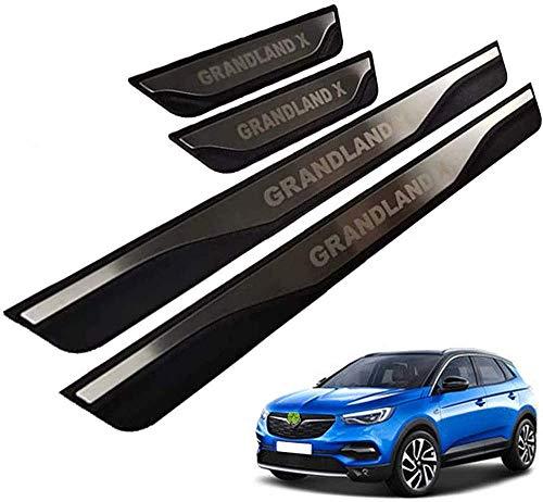 Acero Inoxidable Placa de Decoración Estribos Desgaste Alféizar Puerta para Opel Grandland X A18 2017 2018 2019, Protector Umbral Pasos Pedal Coche Antiarañazos Accesorios