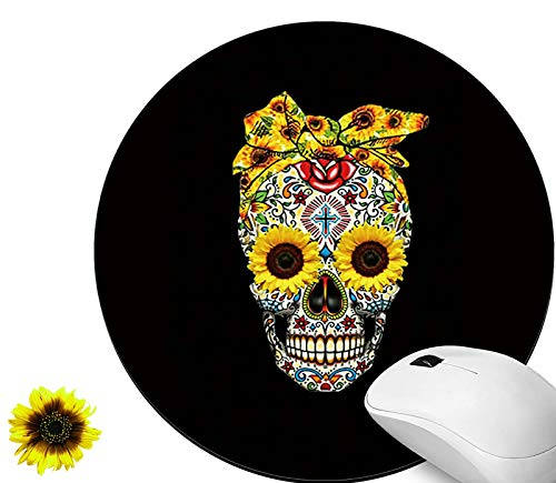 Gaming Mouse Pad Mat with Skull Sunflower Black Pattern Mousepad Non-Slip Rubber Base Mouse Pads for Laptop Computers & Office, Round Mousepads Cute and Sunflower Stickers for Women & Men