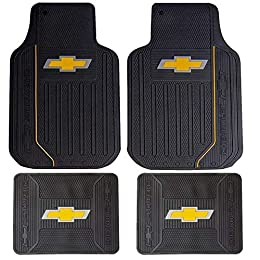 2 front rubber floor mats - 26 inches (long) x 16.5 inches (wide) - each 2 rear rubber floor mats - 14 inches (long) x 17 inches (wide) - each Bright Elite Series Chevy design 100% rubber floor mats Unit of measure - 1 set of 4 pcs