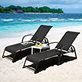 Tangkula 2 Pcs Outdoor Patio Lounge Chaise, (Set of 2) Adjustable Folding...