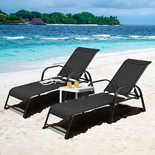 Tangkula Outdoor Patio Lounge Chaise, (Set of 2) Adjustable Folding Reclining Lounge Chairs, 5-Position Backrest Adjustment, Sling Chaise for Patio Beach Porch Swimming Poolside