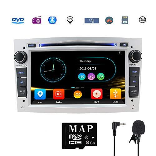 Car Stereo Satellite GPS Navigator para Opel, Unidad Head 7 Pulgadas 2 DIN Car Stereo con Soporte para Reproductor de CD y DVD GPS, USB SD, FM Am RDS, Bluetooth, SWC(Plata)