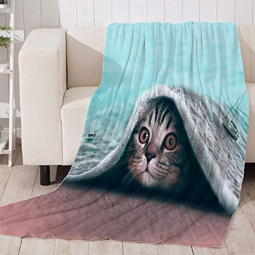 Bedsure Mantas para Sofás de Franela Gato 3D de Lujo de Grande Tamaño Manta Manta de Lana para sofá y Cama de 180x200cm
