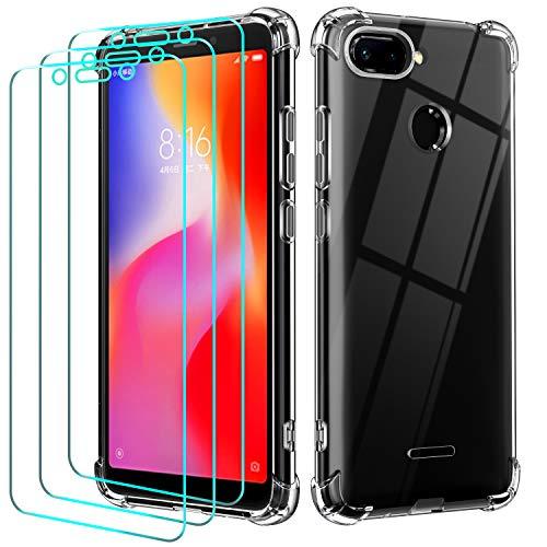 ivoler Funda para Xiaomi Redmi 6 / Xiaomi Redmi 6A + 3 Unidades Cristal Vidrio Templado Protector de Pantalla, Ultra Fina Silicona Transparente TPU Carcasa Airbag Anti-Choque Anti-arañazos Caso
