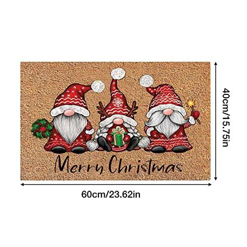 Decorativo Navidad Alfombra, 40x60x0.7CM Alfombra Navideña, Felpudo de Navidad de Entrada, Hogar de Navidad Alfombras Antideslizantes para Puertas Alfombras de Pasillo (A)