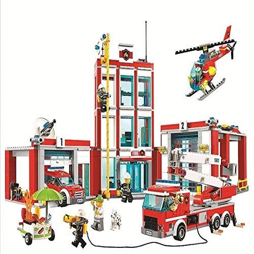 958pcs niño de la serie de la ciudad de la estación de bomberos modelo bloque de construcción de ladrillo juguete para niños regalo de cumpleaños 10831