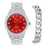 Mens ICY Blinged Out Watch and Cuban Link Bracelet Two-Piece Set with CZ Diamonds and Classy Colored Dial - Roman Numbering and CZ Time Indicators - Quartz Movement