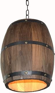 Walmeck Pendant Lights, Creative Retro Wood Wine Barrel Hanging Ceiling Decoration Lamp for Bar Restaurant Cafe