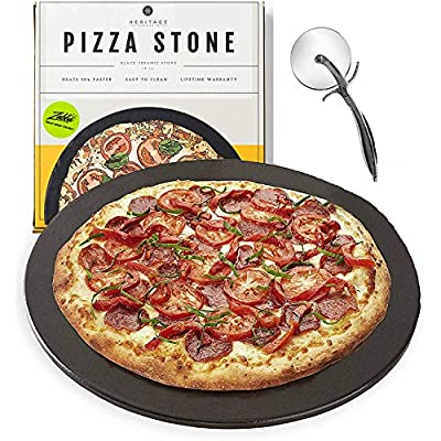 Heritage Black Ceramic Pizza Stone ?Pan ?and Pizza Cutter Wheel ?Set? - Baking Stones for Oven, Grill & BBQ - ?Stainless? ?& Nonstick
