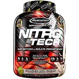 MuscleTech NitroTech Protein Powder Whey Protein with Whey Isolate, Cookies and Cream, 4