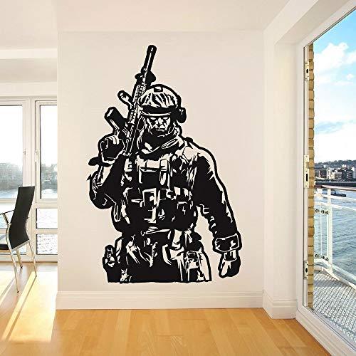 Militärsoldat voll bewaffnete Marines Shot War Battle Spiel Wandaufkleber Spielzimmer Junge Schlafzimmer Club Büro Hauptdekoration Vinyl Aufkleber Kunst Wandbild Poster