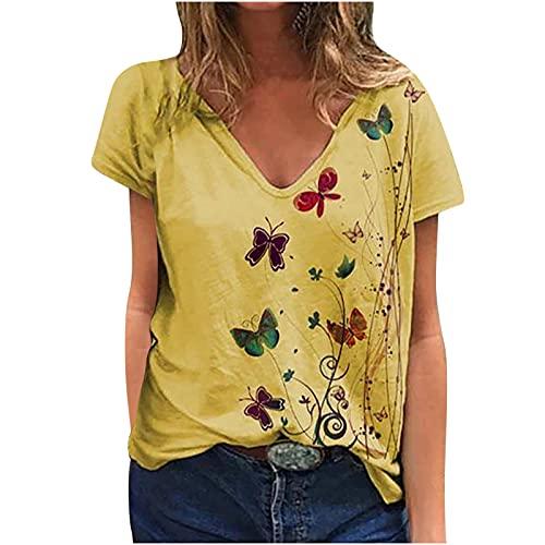 Camiseta de verano para mujer con cuello en V y estampado de mariposas, suelta, de cuello redondo, informal, de manga corta amarillo M
