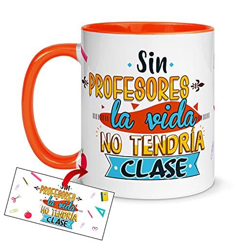Kembilove Taza regalo Profesores – Tazas Desayuno para Fin de Curso – Regalos originales para Maestros – Tazas originales con Mensaje Sin profesores la vida no tendría clases Taza naranja
