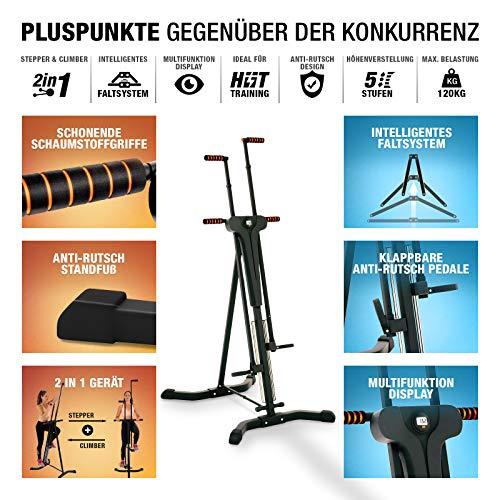 Sportstech innovativer 2in1 Stepper & Vertical Climber Fitness VC300 mit Anti-Rutsch Design & Faltsystem - 7