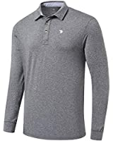 MoFiz Men's Long Sleeve Golf Polo Shirt Slim Fit Polo Shirt Athletic Polo Shirt for Men(XL,Grey)