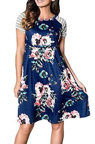 Mammakläder damer kortärmad rund hals blomtryck för amning graviditetsklänning casual mode vintage lös klänning A-linje eleganta sommarklänningar mammamode märken