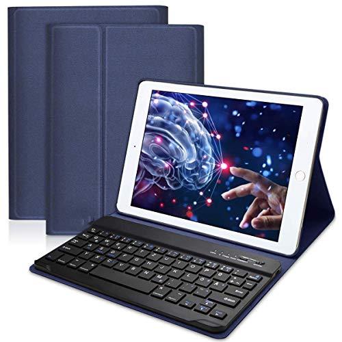 NBWS - Funda con Teclado QWERTZ para iPad 2018/2017, iPad Pro 9.7, iPad Air 2/1, iPad Bluetooth Keyboard Case con función de Soporte Mulit-Angle y con Auto sueño/Despertar Azul Azul