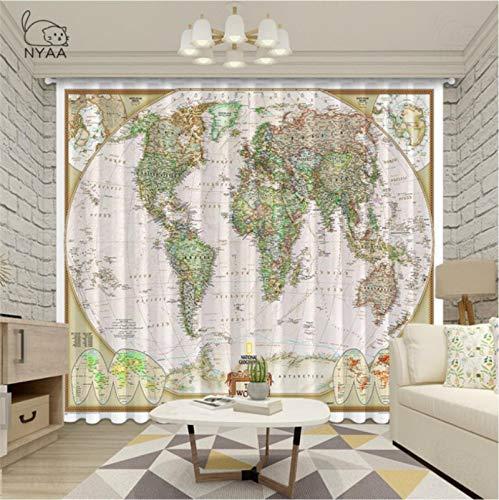 Cortinas Opacas - Impresión 3D Mapa de Pared del Mundo Vintage Náutico - Cortinas con Ojales - Reducción De Ruido De Aislamiento,290(H) x140(An) Cmx2 Paneles/Set