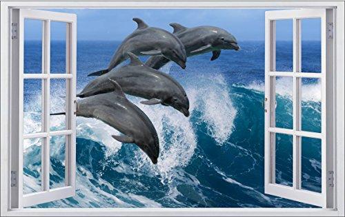 DesFoli Delfine Meer 3D Look Wandtattoo 70 x 115 cm Wanddurchbruch Wandbild Sticker Aufkleber F185