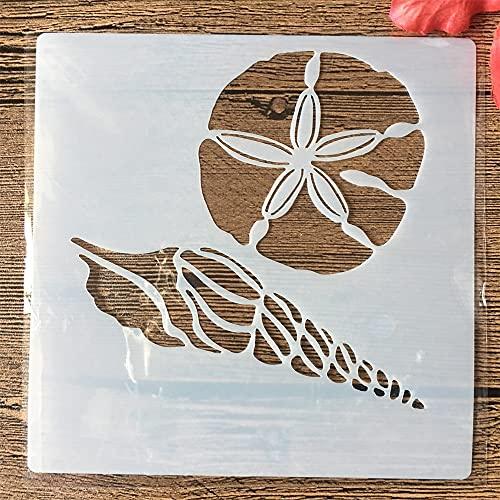 Plantillas para pintar, 9 unidades/set de 13 cm, diseño de concha de amor hipocampo, para manualidades, para pintura, álbum de recortes, álbum de recortes, plantilla decorativa 3