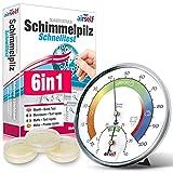 Schimmeltest + Thermohygrometer: Zum Check der Schimmelbelastung für bis zu 6 Räume. Inkl. analogem Thermo-Hygrometer