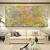 N / A Gran Arte de la Pared de Oro Lotus Claude Monet Impresionista Pintura al óleo Lienzo Cartel y Grabado Sala de Estar Mural Decorativo sin Marco A99 70x100cm