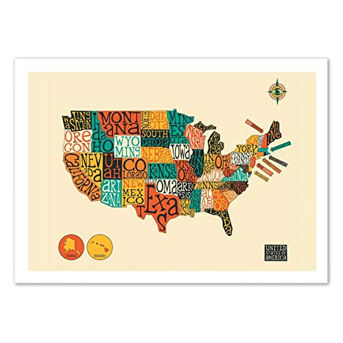 Poster United States Map - Jazzberry Blue