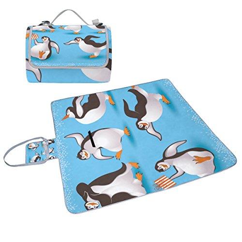 COOSUN Pinguine Picknick Decke Tote Handlich Matte Mehltau resistent und wasserfest Camping Matte für Picknicks, Strände, Wandern, Reisen, Rving und Ausflüge