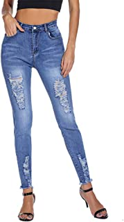 Women Ripped Stretch Jeans Distressed Denim Jean for Women Skinny with Hole