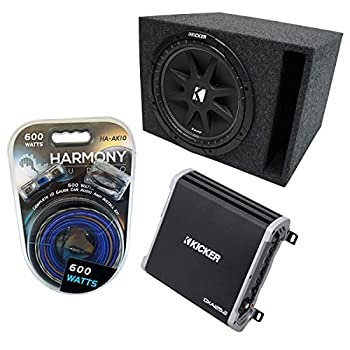 Kicker Bundle Compatible with Universal Vehicle 43C124-N Single 12  150W Loaded Sub Box Enclosure with 43DXA1252 2Ch 240W Amp