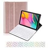for Samsung Galaxy Tab A 10.1 2019 SM-T510 T515 Keyboard Case, 7 Color Backlit Slim Folio Shell Protective Stand Pu Leather Cover Removable Wireless Bluetooth Keyboard Case (Rose Gold)