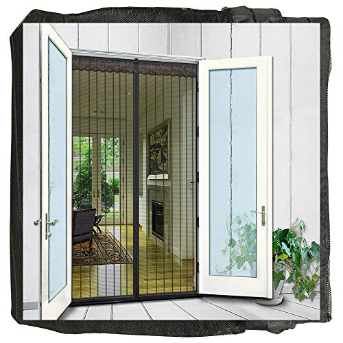 """N-Green Magnetic Screen Door 36""""x97"""" fits door up to 34""""x96"""" Heavy Duty Mesh Curtain with Full Frame Velcro and Powerful Magnets that Snap Shut Automatically"""