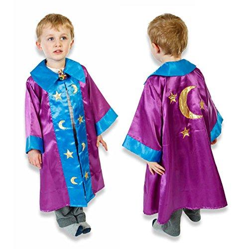 Slimy Toad - Déguisement de sorcier étoiles et lunes pour enfants - Cape de sorcière luxe faite main - Violet et bleu (3-8 ans)