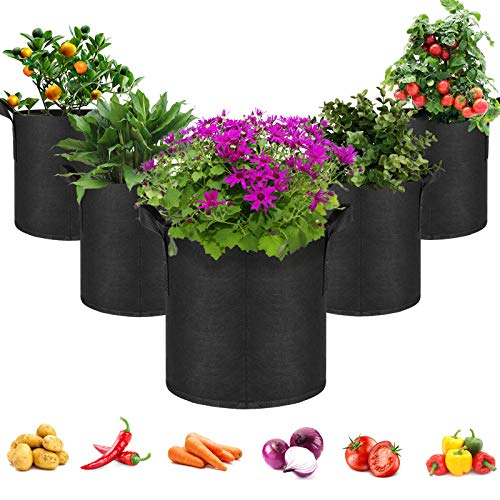 5-Pack 10 Gallons Non-wovenFabrics Grow Bags For Tomatoes Seed Breathable...