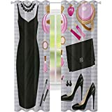 cortinas de ventana, Negro Elegante Vestido de Cóctel Perfume Maquillaje de Embrague Bolsa, W52 x L108 Cortinas opacas para el dormitorio, Negro Pálido Rosa Pálido Marrón