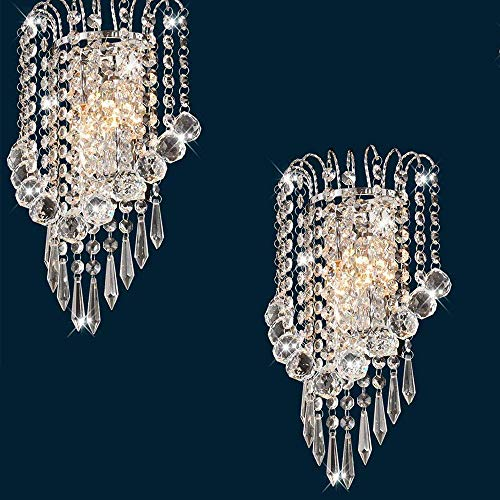 2 pezzi Cascata goccia di pioggia Moderno E14 Specchio Di Cristallo In Acciaio Inox Applique Da Parete Lampada da parete per Corridoio Scala Pernottamento Lampada Apparecchi Luce Comprese le lampadine